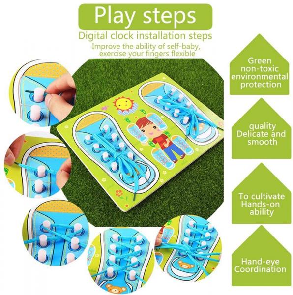 Joc Montessori lemn - Legarea sireturilor [7]