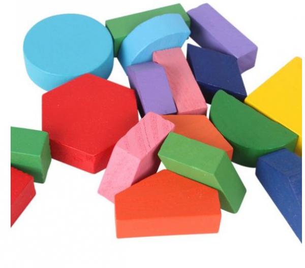 Set 3 Puzzle lemn forme geometrice și fracții [4]