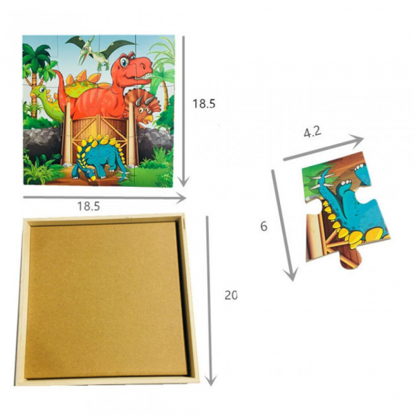 Puzzle din lemn 4 în 1 - Dinozauri [4]