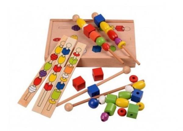 Joc tip Montessori din lemn - Înșiră bilele pe bețe [6]