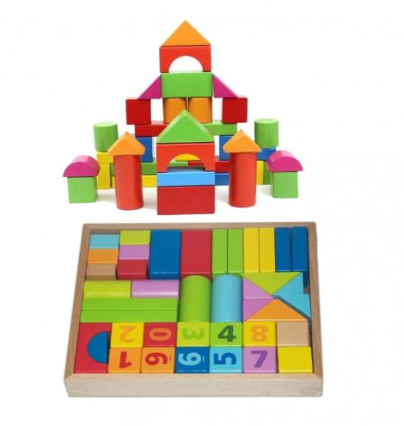 Set cuburi construcție din lemn, colorate și distractive [0]