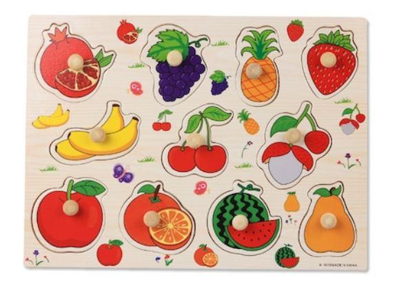 Puzzle încastrat din lemn cu mâner Fructe [1]