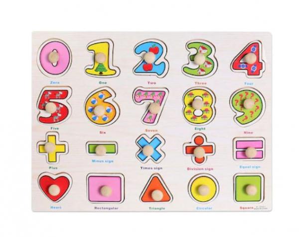 Puzzle cu mâner din lemn Matematică și Forme [0]