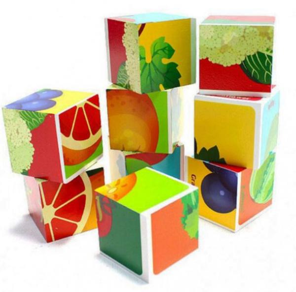 Cuburi cognitive din lemn Fructe și Legume [2]