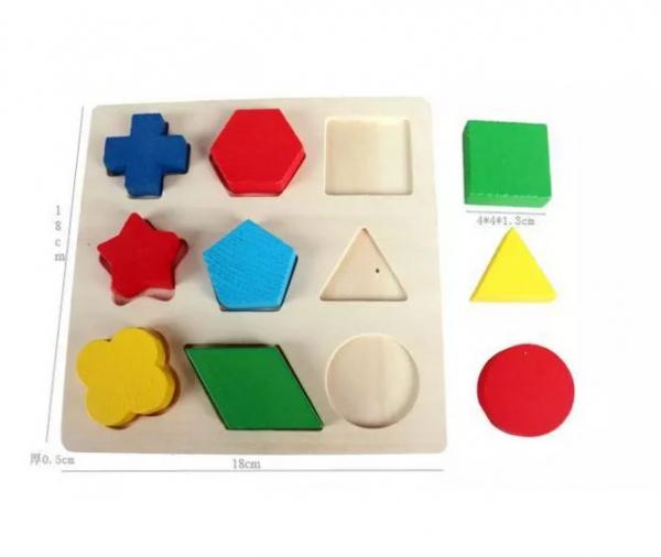Set 3 Puzzle lemn forme geometrice și fracții [6]