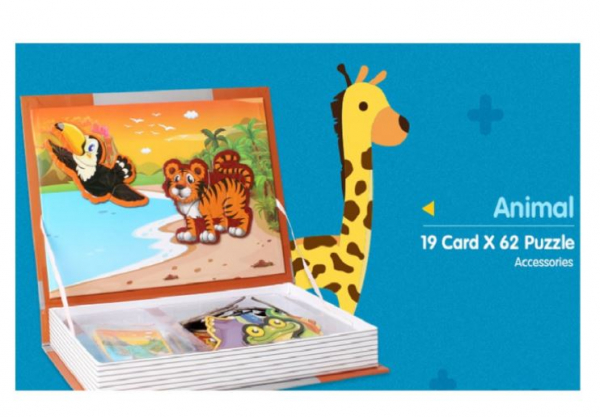 Carte magnetică cu piese puzzle Animale sălbatice [2]