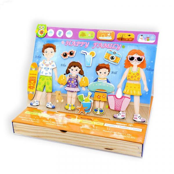 Joc magnetic din lemn Îmbracă Familia [2]