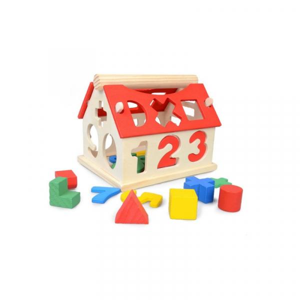 Căsuță din lemn cu forme geometrice și cifre [0]