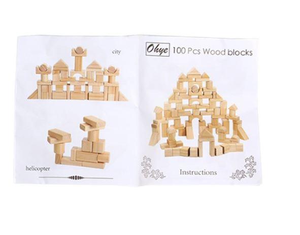 Set de cuburi pentru construit din lemn natur 100 de piese [6]