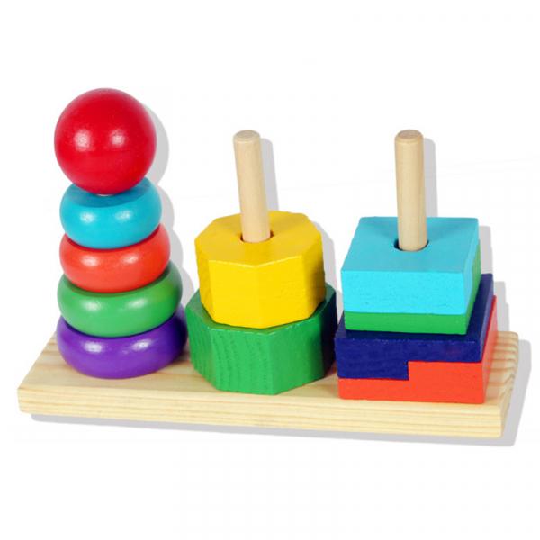 Turn tip Montessori din lemn cu 3 coloane [3]