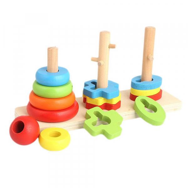 Jocul de sortare din lemn tip Montessori cu 3 coloane [0]