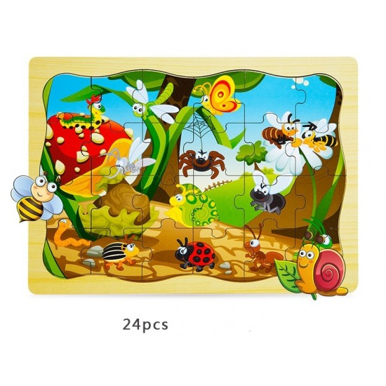 Puzzle din lemn clasic Insecte [0]