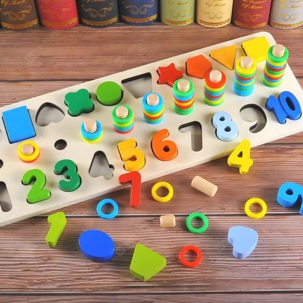 Tablă tip Montessori 3 în 1: Cifre, Forme geometrice și Numărătoare [0]