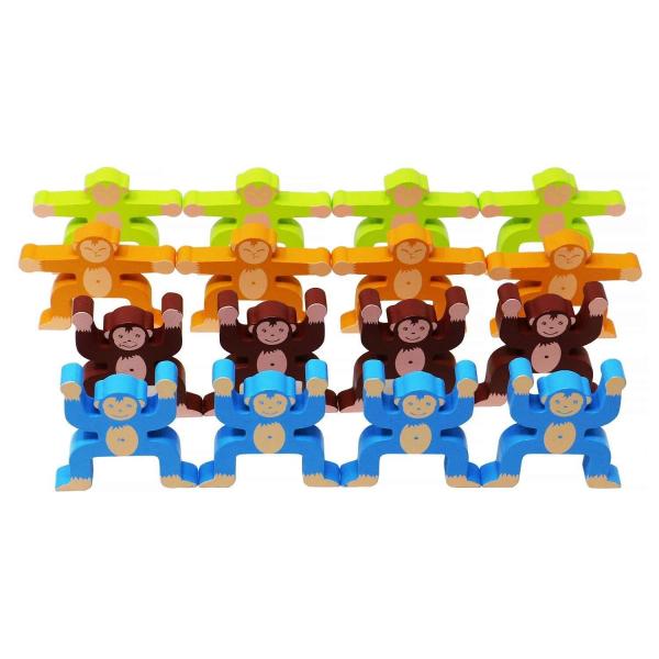 Joc din lemn Montessori de echilibru - Maimuțele [2]