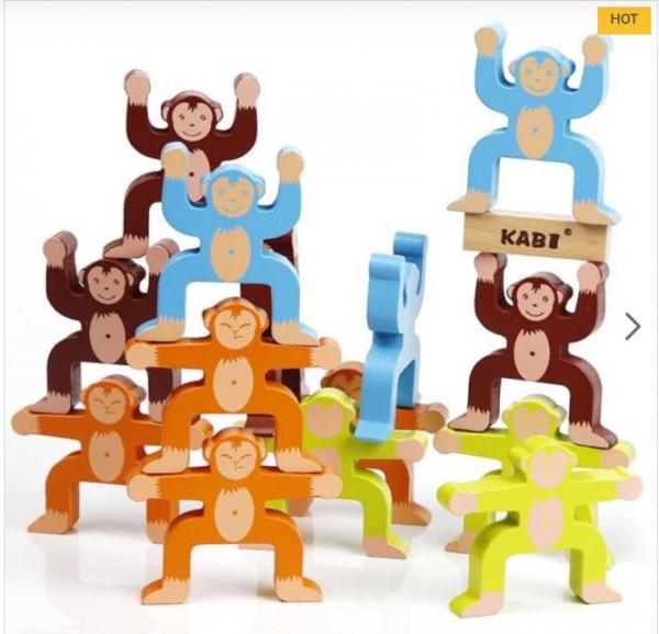 Joc din lemn Montessori de echilibru - Maimuțele [0]
