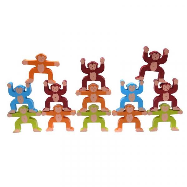 Joc din lemn Montessori de echilibru - Maimuțele [1]
