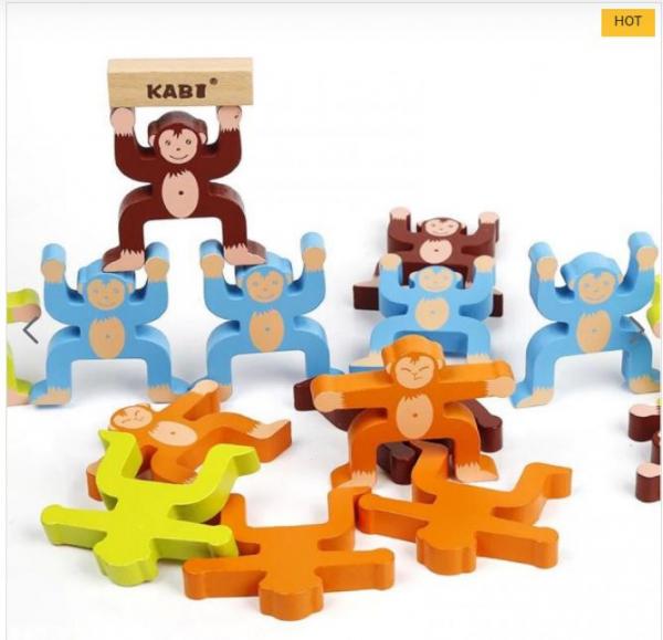 Joc din lemn Montessori de echilibru - Maimuțele [5]
