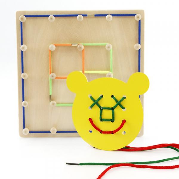 Joc din lemn Montessori Geoboard cu elastice [1]