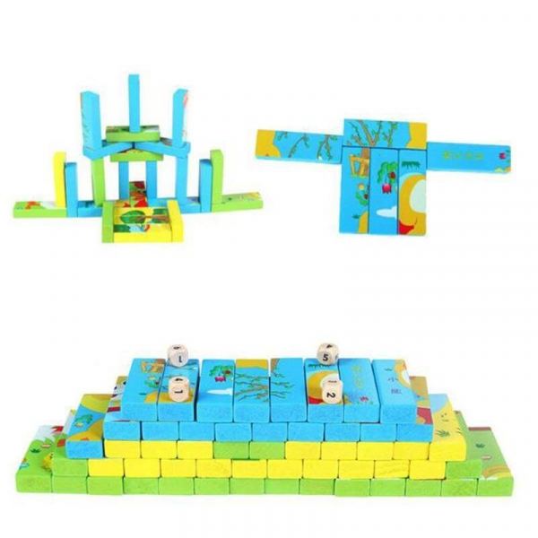 Joc Educativ 2 in 1 din lemn - Jenga si Puzzle [3]