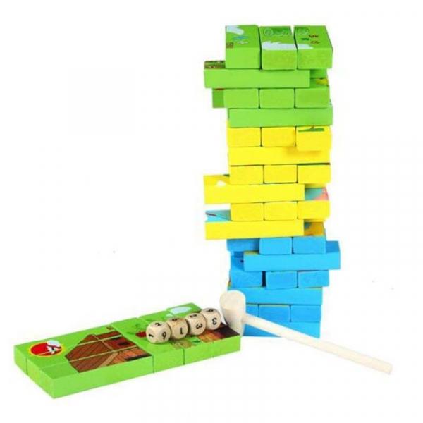 Joc Educativ 2 in 1 din lemn - Jenga si Puzzle [5]