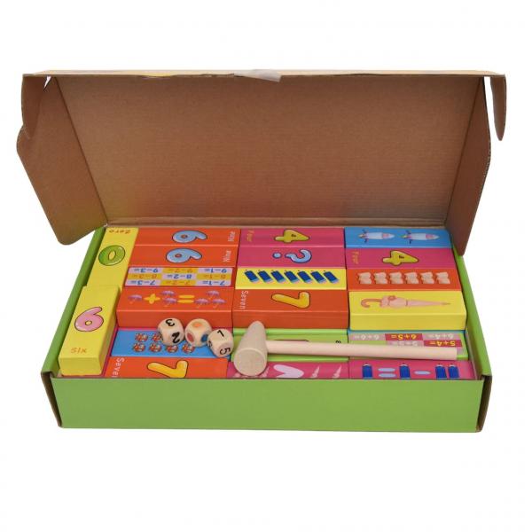 Joc Jenga din lemn multicolor cu cifre și imagini [2]