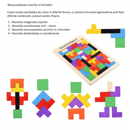 Joc logic Tetris din lemn [2]