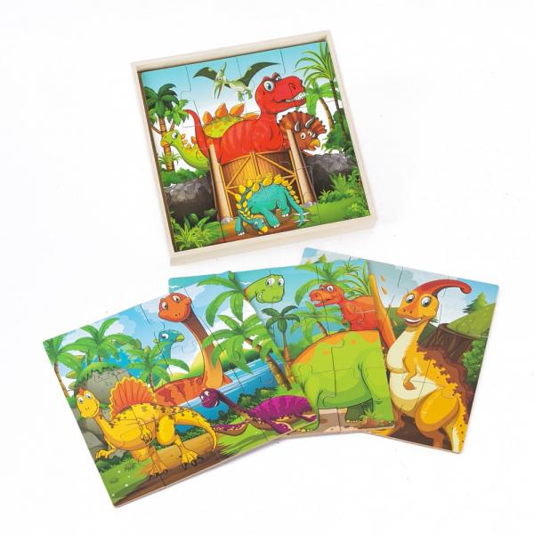 Puzzle din lemn 4 în 1 - Dinozauri [1]