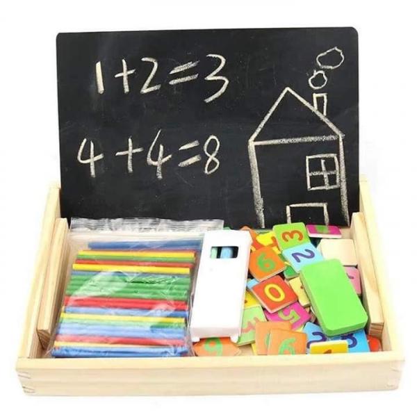 Tabliță educativă din lemn 3 în 1: Cifre&numărare, Ceas și Cretă [4]