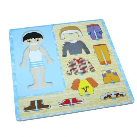 Puzzle din lemn Îmbracă Băiețelul [2]