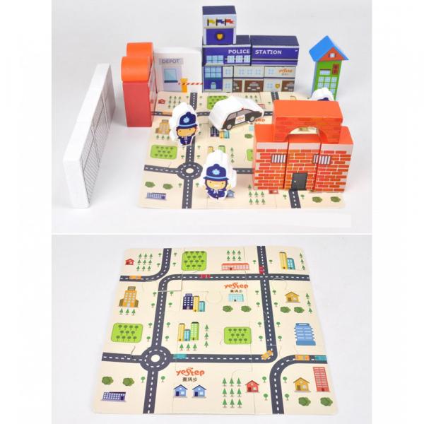 Puzzle și cuburi din lemn – Poliția [2]