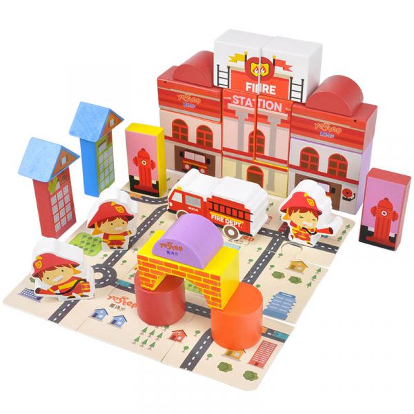Puzzle și cuburi din lemn - Pompieri [2]