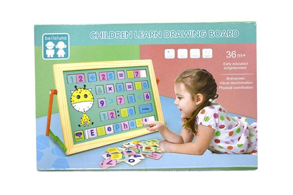 Tablă magnetică educativă din lemn cu litere și cifre [0]