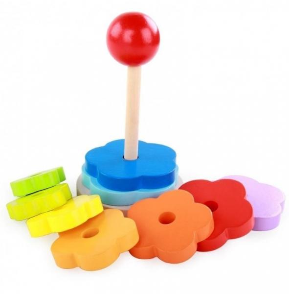 Turnulet stivuire tip Montessori din lemn -Curcubeu [1]
