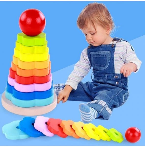 Turnulet stivuire tip Montessori din lemn -Curcubeu [4]