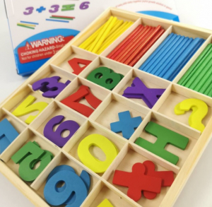 Jucărie Montessori din lemn - Numărare cu cifre și bețe [0]