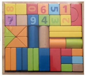 Set cuburi construcție din lemn, colorate și distractive [1]