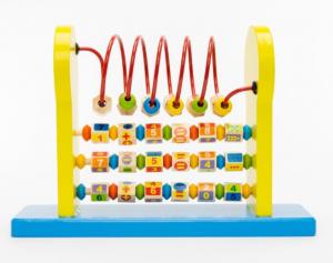 Jucărie multifuncțională din lemn cu ceas, circuit motricitate și operații aritmetice [0]