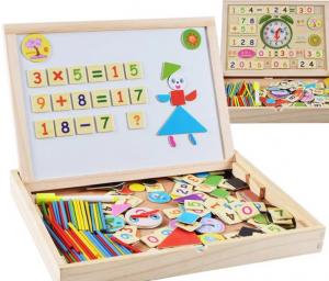 Tăbliță magnetică 4 în 1: Cifre și operații aritmetice, Puzzle magnetic, Ceas și whiteboard [0]
