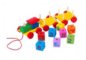 Trenulet din lemn - cuburi litere si cifre [0]