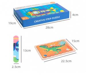 Puzzle cu piese bețișoare din lemn, Creative Puzzle Stripes, Animăluțe [0]