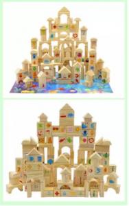 Cuburi din lemn natur, cu ilustratii [0]