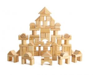 Set de cuburi pentru construit din lemn natur 100 de piese [0]