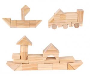 Set de cuburi pentru construit din lemn natur 100 de piese [2]
