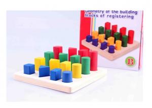 Puzzle lemn 3D Forme Geometrice Colorate [1]