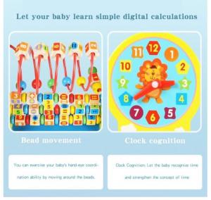 Jucărie multifuncțională din lemn cu ceas, circuit motricitate și operații aritmetice [5]