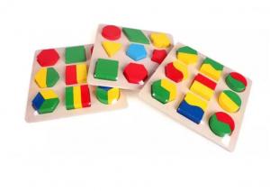 Set 3 Puzzle lemn forme geometrice și fracții [3]