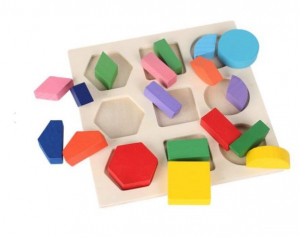 Set 3 Puzzle lemn forme geometrice și fracții [5]