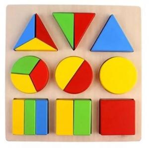 Puzzle din lemn Forme geometrice Fracții [0]