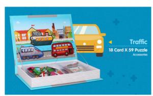 Carte magnetică cu piese puzzle - Mijloace de transport [2]