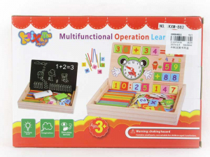 Tabliță educativă din lemn 3 în 1: Cifre&numărare, Ceas și Cretă [2]